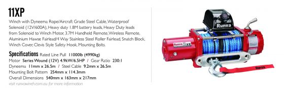 Runva 11XP 12V with Synthetic Rope - IP67 Motor (RED) TheUTEShop Products