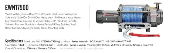 Runva EWN17500 12V with Synthetic Rope TheUTEShop Products