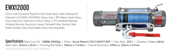 Runva EWX12000 12V with Synthetic Rope - IP67 MOTOR TheUTEShop Products